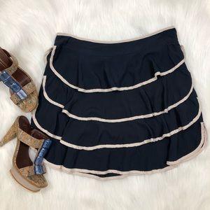 Anthro Blue Cream Ruffle Mini Skirt, Size M